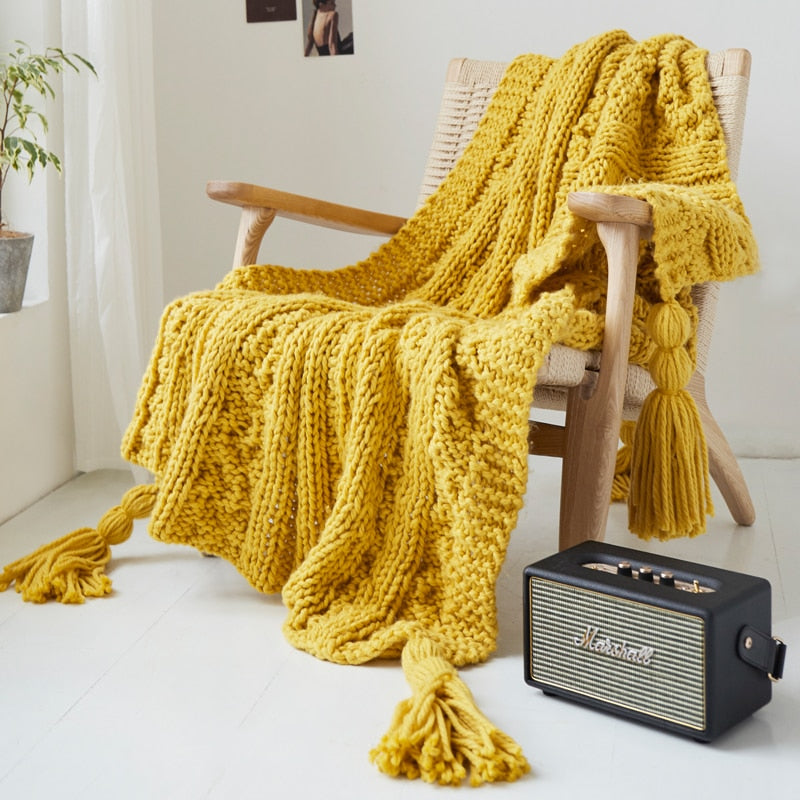 rectangle knitted yellow throw blanket with tassels