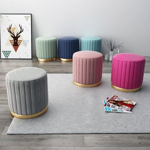 Bright Color Velvet and Gold Metal Ottoman Puff for Room Decor