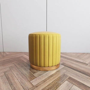 Bright Color Velvet and Gold Metal Ottoman Puff for Room Decor yellow