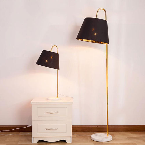 Modern Marble and Metal Floor and Table Lamp with LED bulbs black