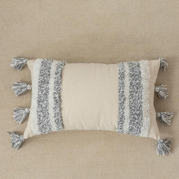 Grey Monochrome Embroidered Wool Canvas Pillow Covers Lumbar and Square