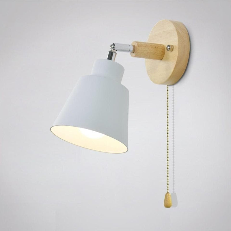 mid century reading white Wall Sconce with Pull Chain Switch