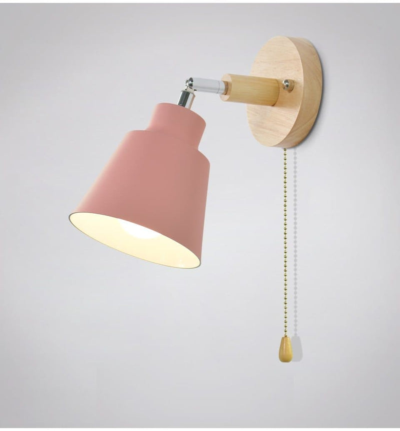 mid century reading pink Wall Sconce with Pull Chain Switch