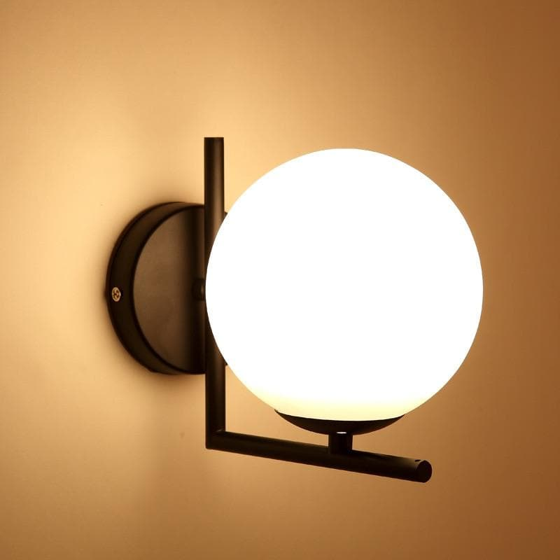 Black Metal Wall Sconce Globe Shape with stand