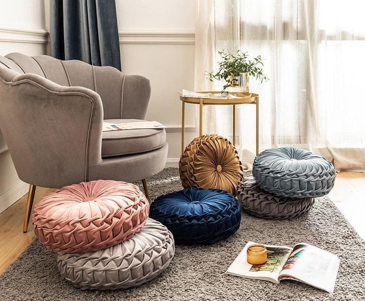 Round Cushion Soft Velvet Pillow Pink Blue Solid Color Floor Pat 40x40cm Handcraft Home decoration Sofa Chair Car Decor