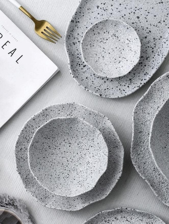 High quality ceramic plates and bowls with granite texture
