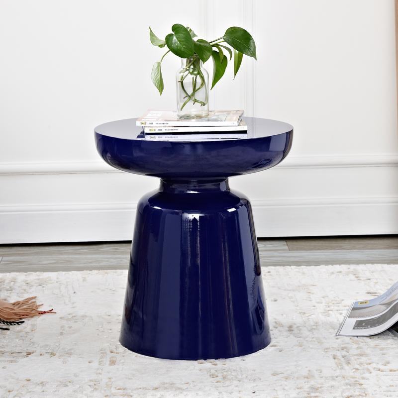 Stylish design colorful metal side table dark navy with flowers