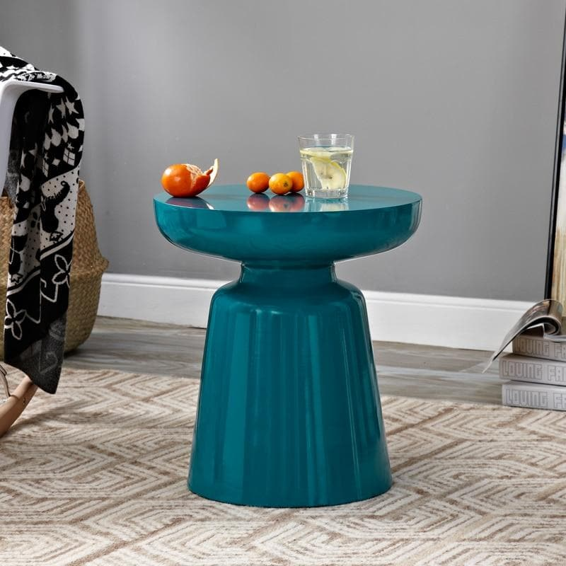 Stylish design colorful metal side table blue