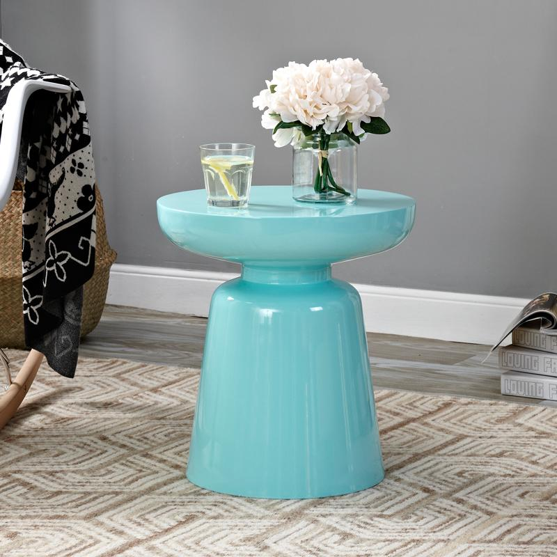 Stylish design colorful metal side table light blue with flowers
