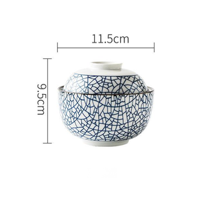 white and Blue ceramic big bowl with lid