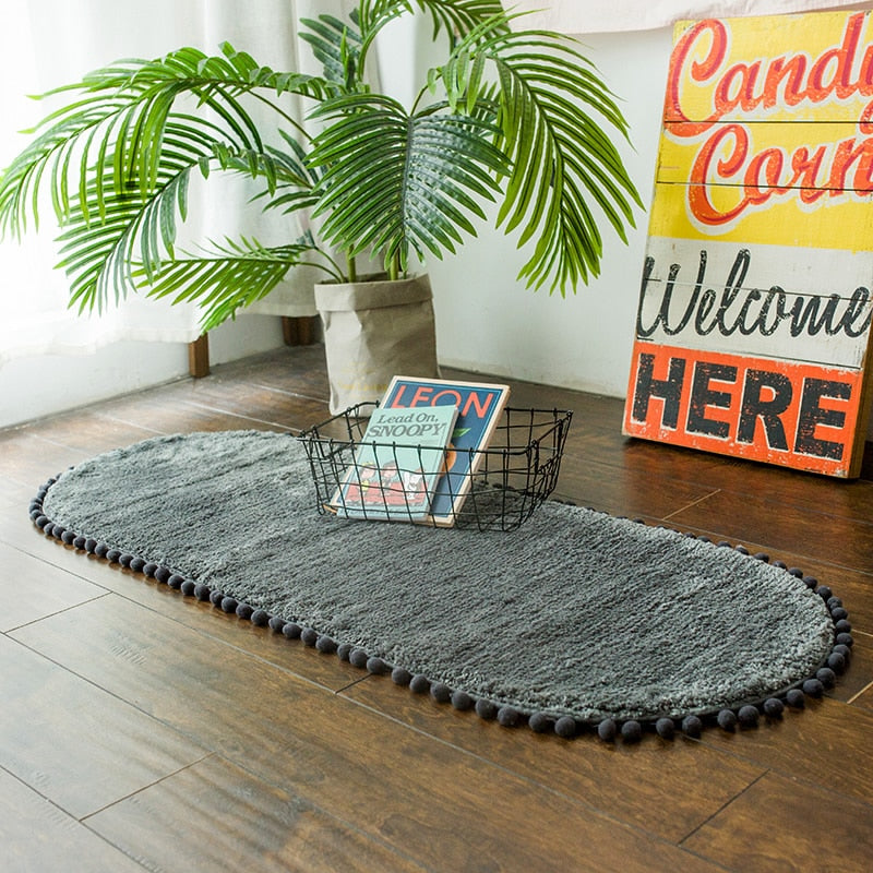 Pom-pom Trimmed Oval Anti-skid Bathroom Kitchen Rug Dark Grey