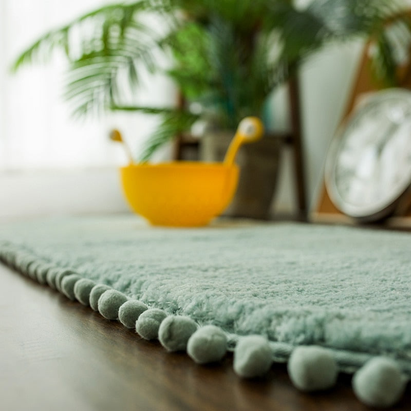 Pom-pom Trimmed Oval Anti-skid Bathroom Kitchen Rug Mint