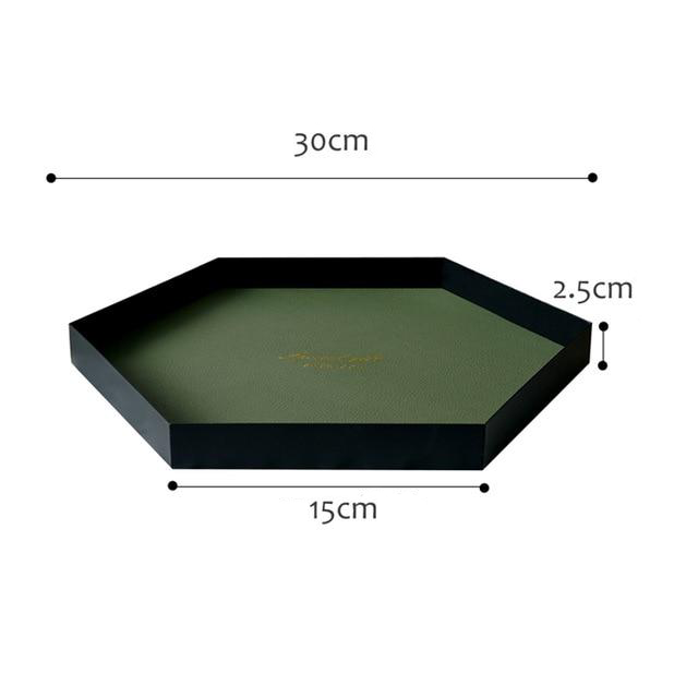Green hexagon leather tray