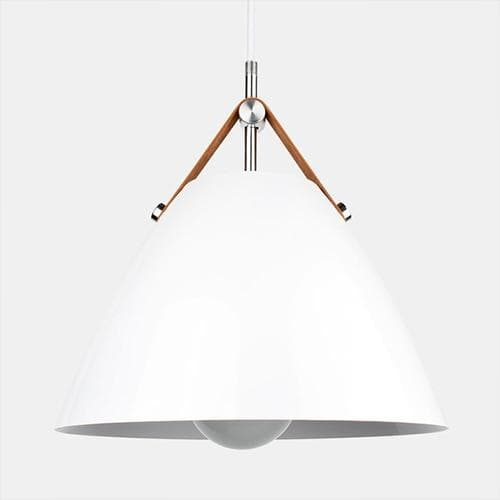 Minimalist Home Decor Pendant light in Metal and leather White Gray and Natural