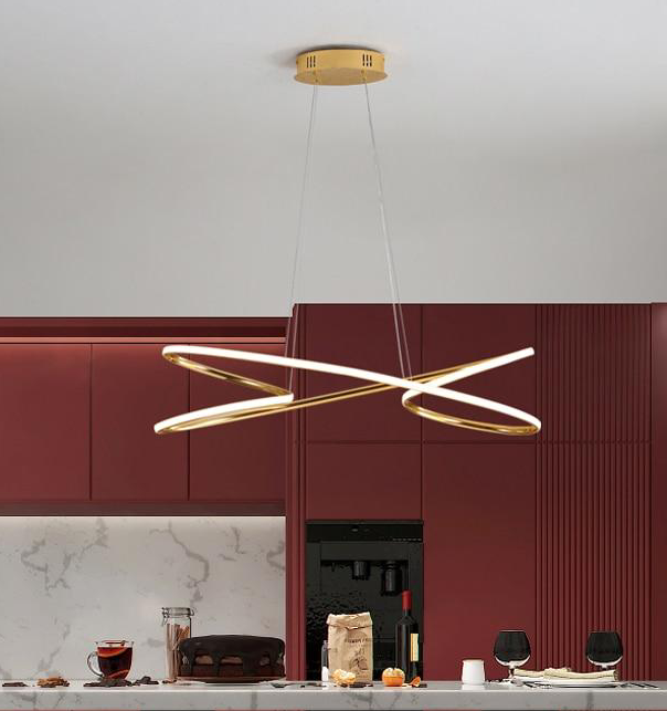 Modern Home Decor Pendant Light in Metal and LED bulbs Gold