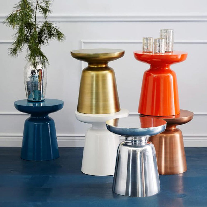 Stylish design colorful metal side tables blue orange and bronze gold red copper