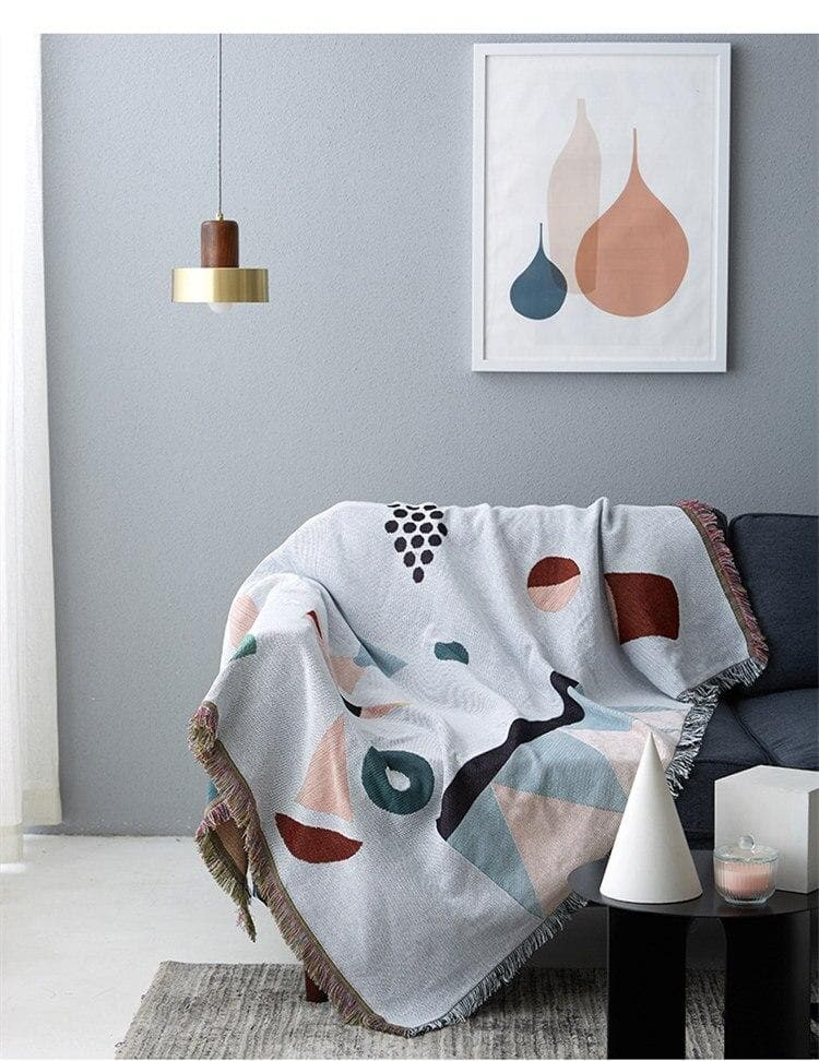 Silver Abstract Modern Tapestry Throw and Reversible Blanket for Decor