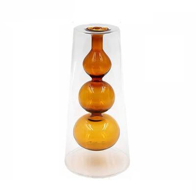 Glass Colorful Flower Vase with Modern Shapes and Morandi Style