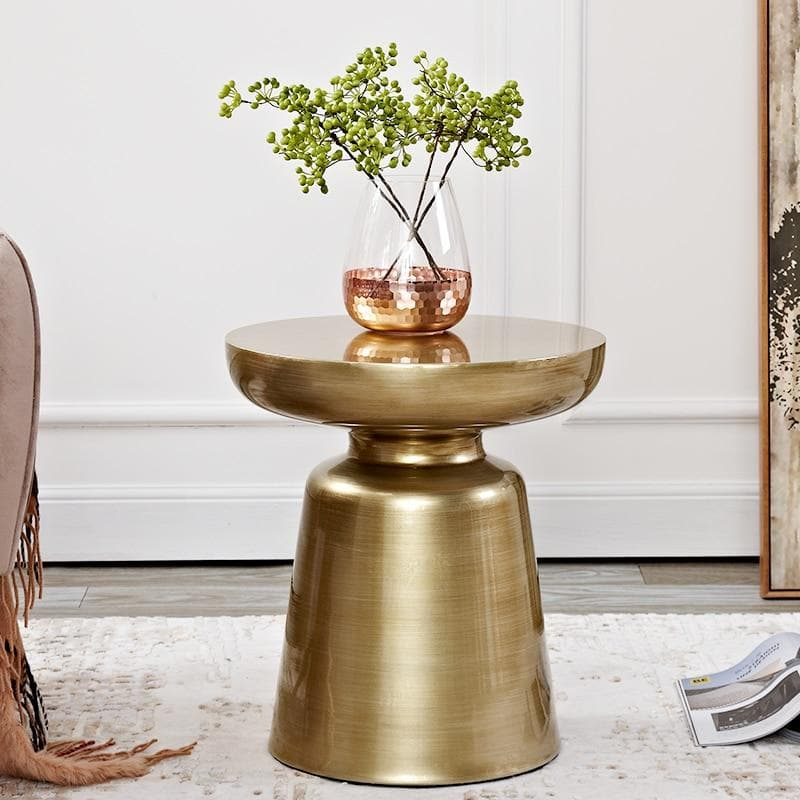 Stylish design colorful metal side table bronze gold copper with flowers