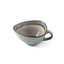 Load image into Gallery viewer, triangle Blue ceramic tea or coffee Cup purple inside