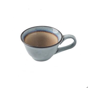 round Blue ceramic tea or coffee Cup brown inside