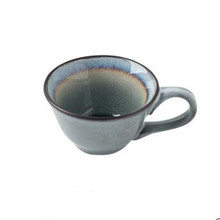 Load image into Gallery viewer, round Blue ceramic tea or coffee Cup grey inside