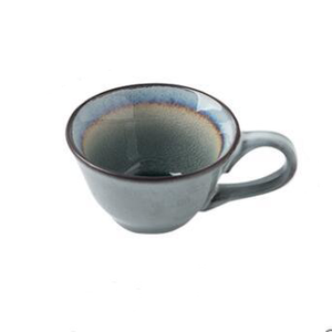round Blue ceramic tea or coffee Cup grey inside