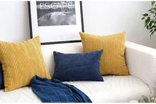 Load image into Gallery viewer, Corduroy Cushion Covers in Bright colors 17x17 24x24 Navy Ochre