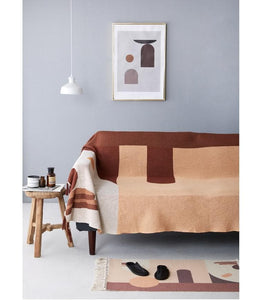 Abstract Earth Clay Tones Tapestry Throw Blanket for Modern Home Decor