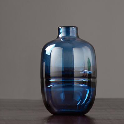 Modern Blue Glass Vase and Bottles for Office & Room Decor