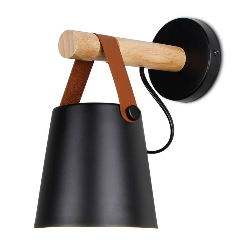 black wall lamp with Leather Strap