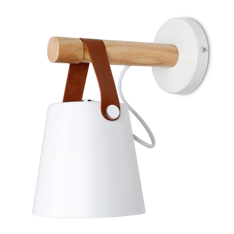 white wall lamp with Leather Strap