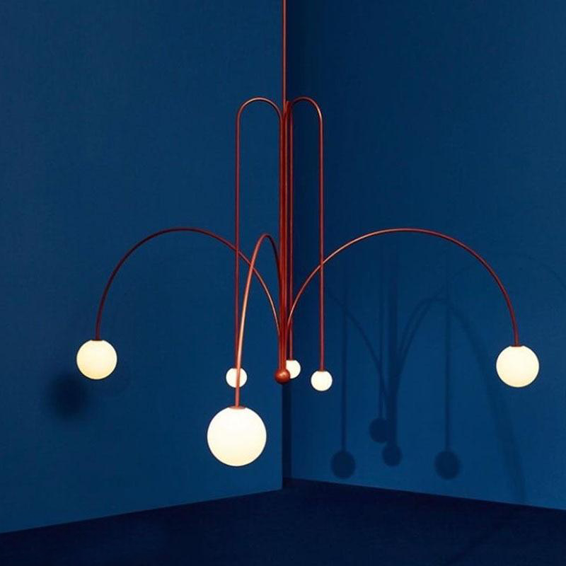 Fontana Amorosa Michael Anastassiades Red lacquered metal chandelier