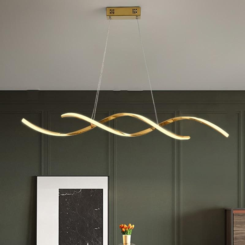 Modern Art Wavy Pendant light in Metal and LED Bulbs Gold