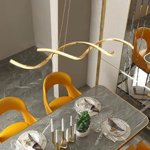 Load image into Gallery viewer, Modern Art Wavy Pendant light in Metal and LED Bulbs Gold