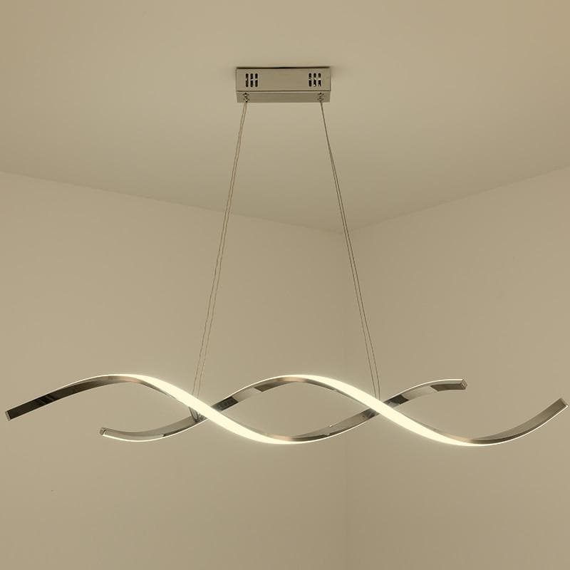 Modern Art Wavy Pendant light in Metal and LED Bulbs Chrome