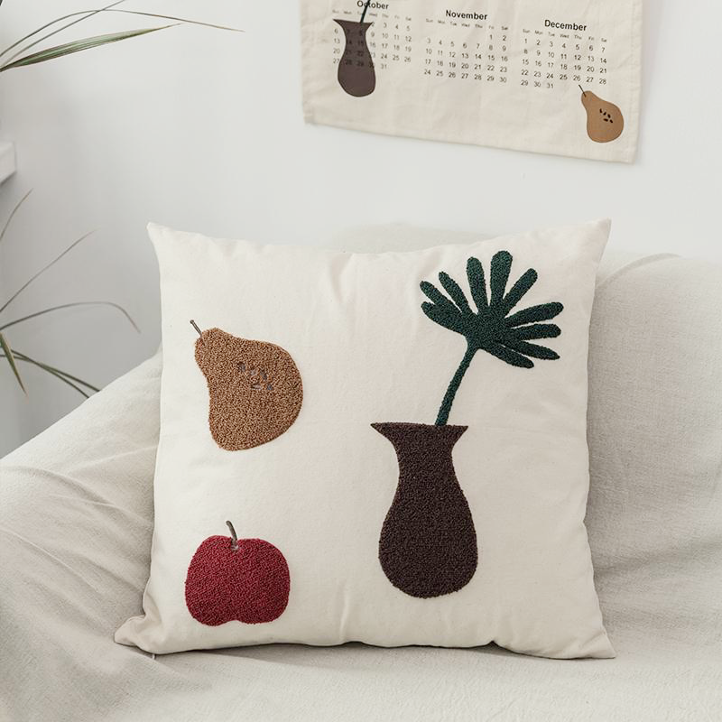 Textured Cat and Flower Pillow Covers for Room Office Modern Boho Decor