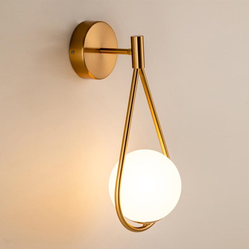 Copper loop shape wall lamp with a Frosted glass globe