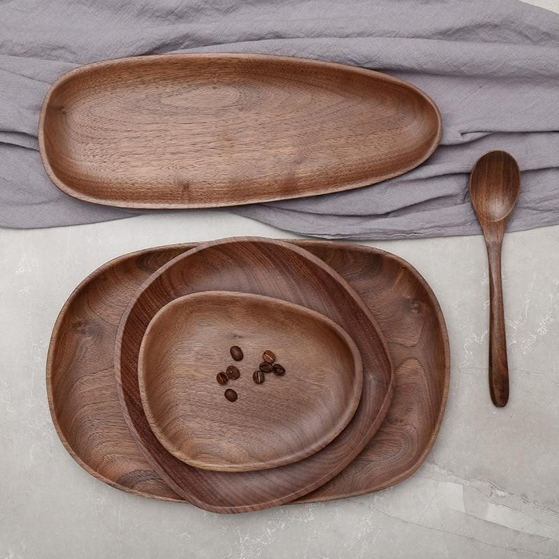 Walnut Wood Tray for Home Decor and Serving for Party Round shape