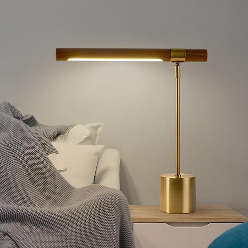 Wood and gold metal Linear Table Lamp