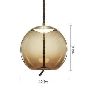 Brokis Knot Modern Tinted Glass Bubble light with Metal and LED Bulbs brown