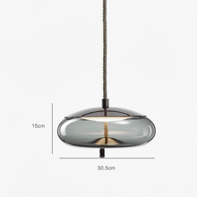 Load image into Gallery viewer, Brokis Knot Modern Tinted Glass Bubble light with Metal and LED Bulbs Grey