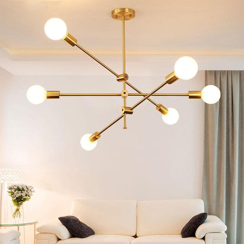 Metal Pendant Light with LED Bulbs for Living Room and Bed Room Gold retro modern sputnik lamp light bulbs