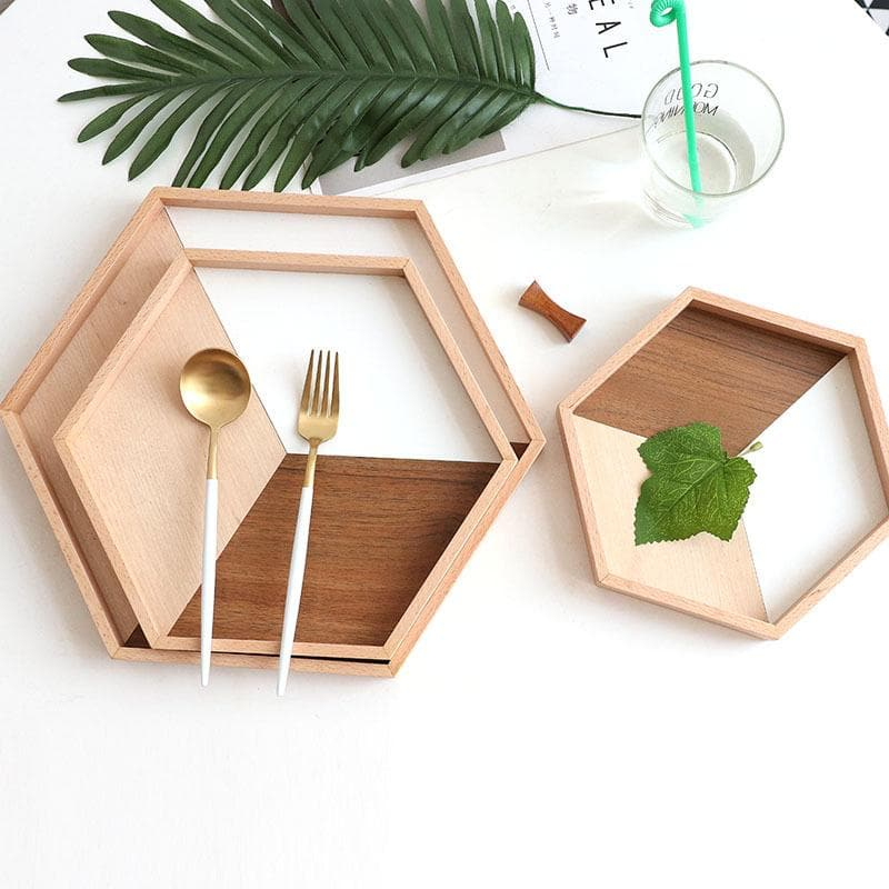Hexagonal natural wood and white trays set