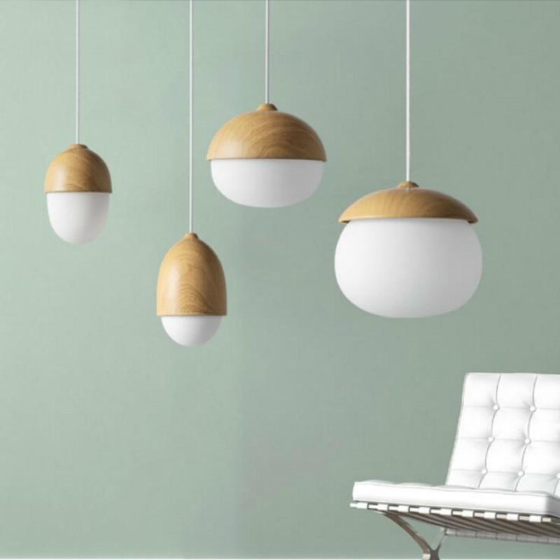 Modern Wood Pendant lights for Living Room with LED Bulbs Wood white Acorn