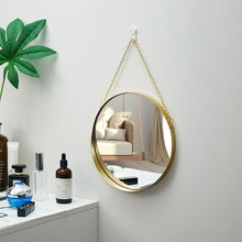 Load image into Gallery viewer, Round Gold Mirror with gold chain link hung on wall
