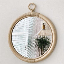 Load image into Gallery viewer, round vintage rattan mirror
