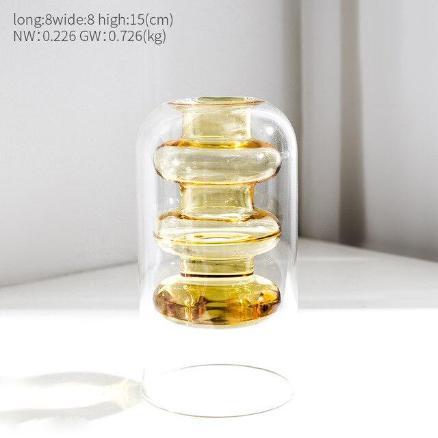 Modern Minimalist Glass Vase for Home and Room Decor Ochre