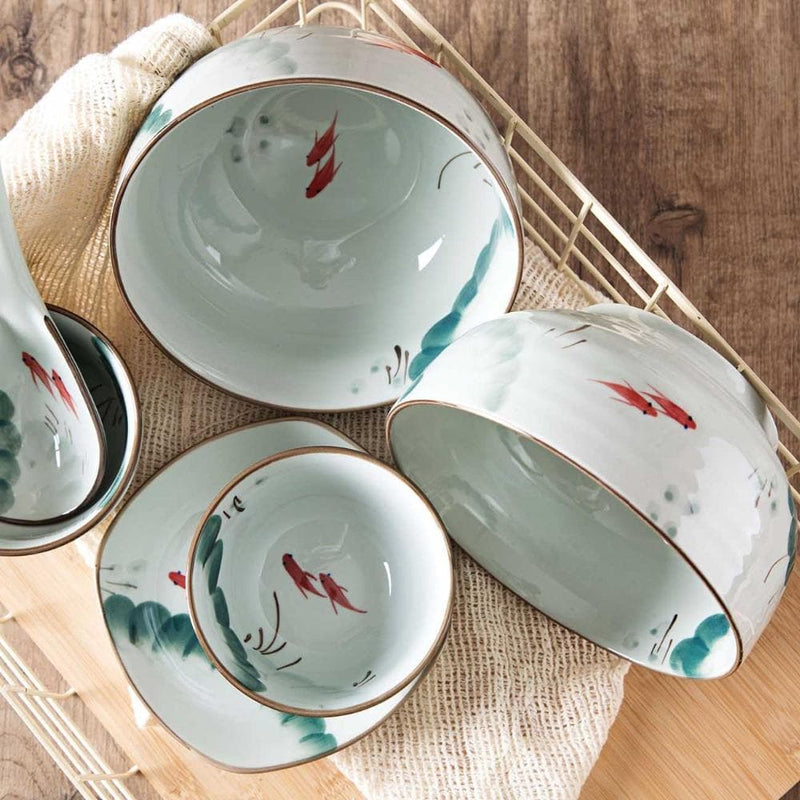 Painted Japanese Porcelain Dinnerware with Gold Trim