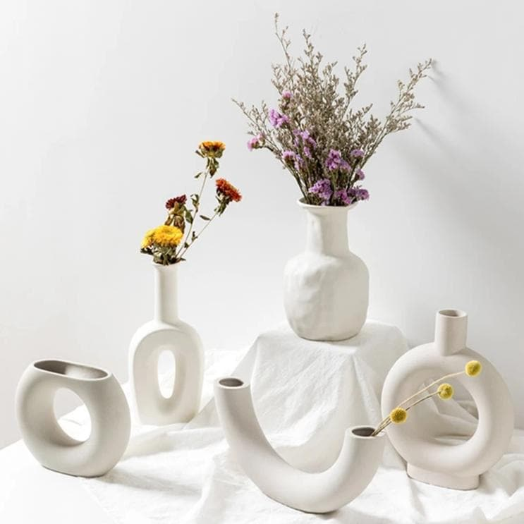 Modern Ceramic Still Life Vases for Flowers Plants and Home Decor white neutral